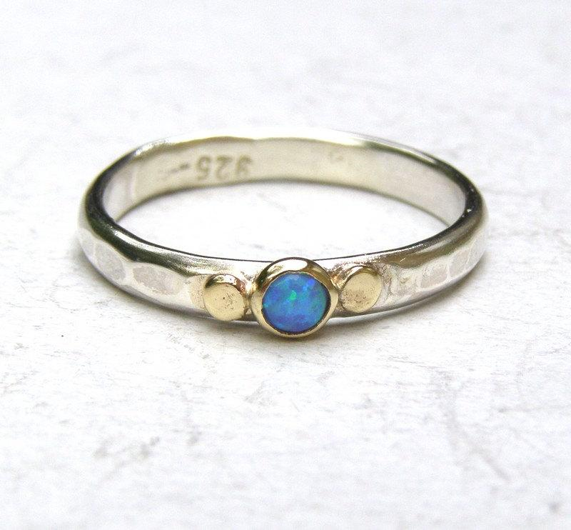 Mariage - Opal ring,Blue opal Gemestone Engagement Ring - 14k gold ring silver ring Opal  ring, Sale for holidays, New year gift- MADE TO ORDER
