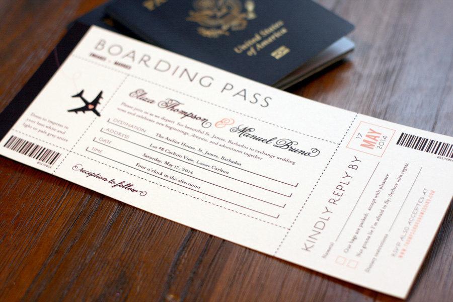 Wedding - Destination Wedding Boarding Pass Invitation