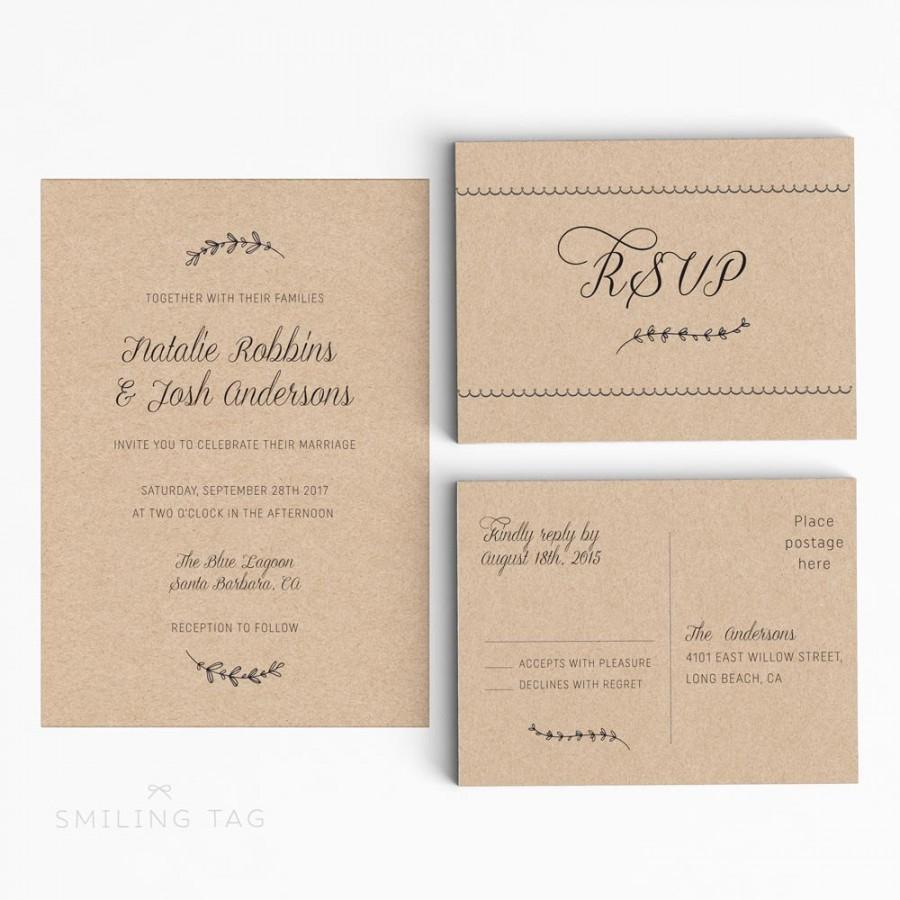 printable wedding invitation suite rustic wedding invitation