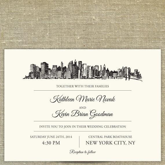 Wedding - New York City Skyline Wedding invitation suite; SAMPLE ONLY