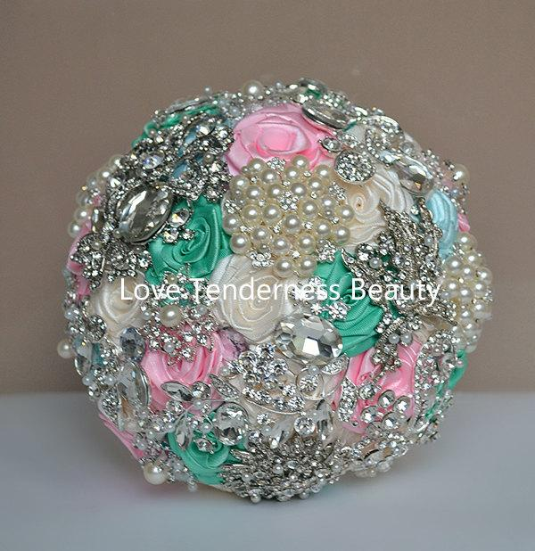 Свадьба - Brooch bouquet, Pink and Mint Silver Wedding Brooch bouquet, Ivory and Blue Broach Bouquet, Jeweled Bridal Bouquet, Rhinestone Bouquet