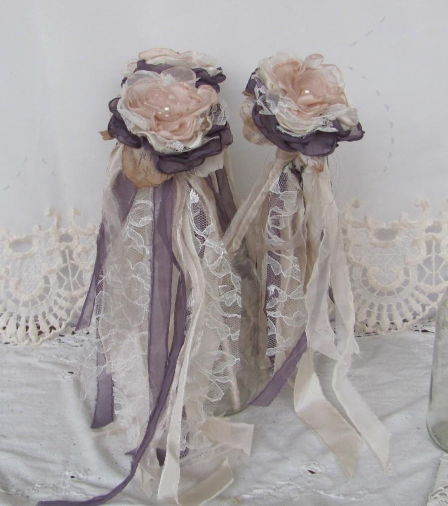 Flower Wands Bouquets Whimsical Accessory Dusty Plum Wedding Single Bouquet Vintage