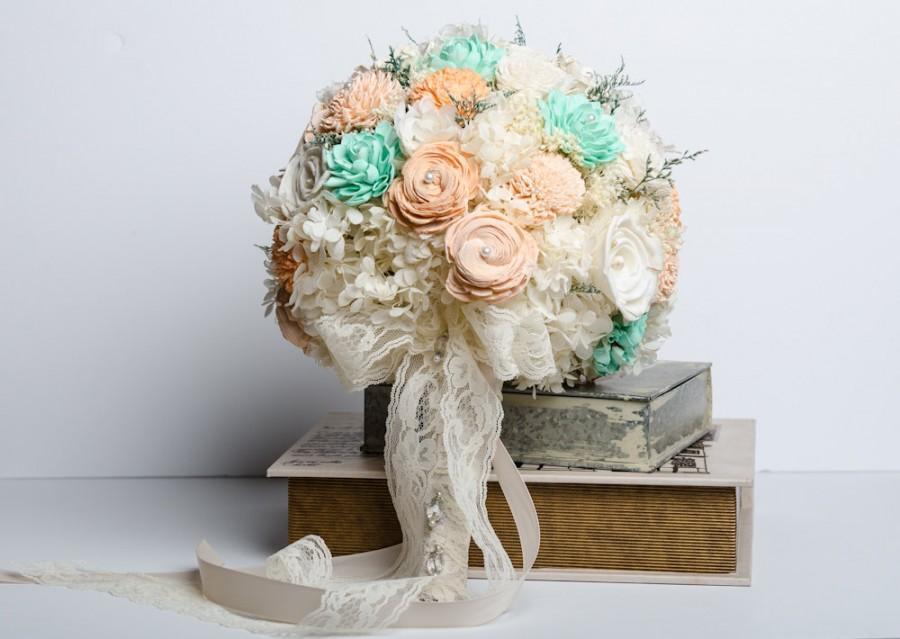 Свадьба - Wedding Bouquet, Mint, Peach & Ivory Sola Flower Bouquet, Vintage Bridal Bouquet, Shabby Chic Bridal Bouquet, Keepsake Bridal Bouquet