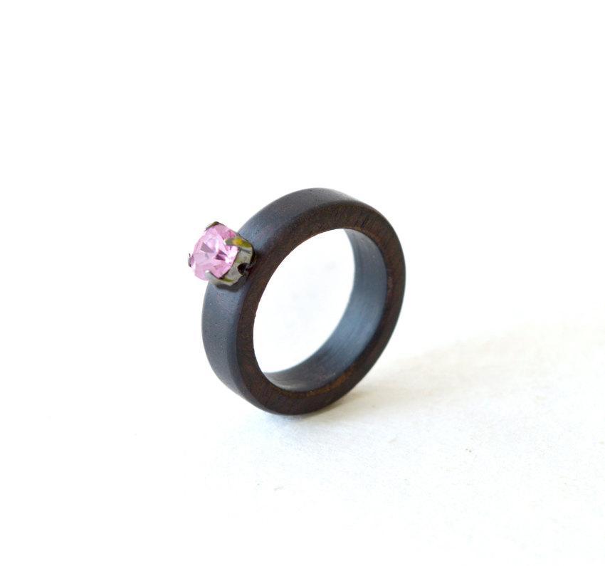Свадьба - Wood Ring, Ebony Wood Ring, Women Wood Ring, Wood Ring with Swarovski, Wood Wedding Band, Wedding Ring, Wooden Wedding Jewelry