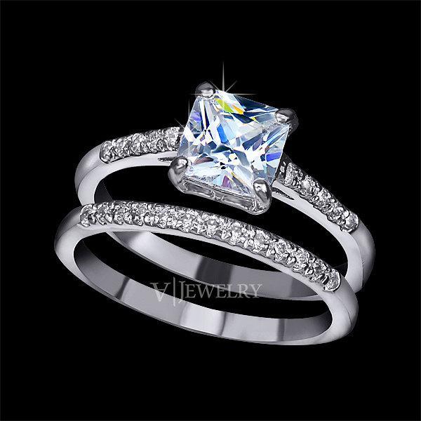 Mariage - Princess Cut Engagement Ring Set, Bridal Band Wedding Ring Set, Cubic Zirconia Two Ring Set, Stacking Set Ring, Eternity Band, AR0139