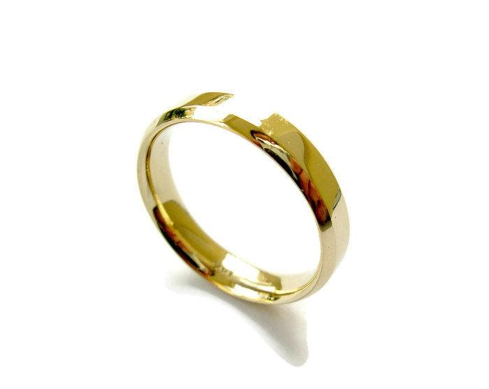 Wedding - Wedding Band, Classic Wedding Ring, 14k Yellow Gold Ring, 5mm Wide, Smooth