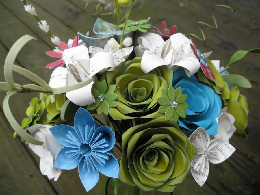 Свадьба - Custom Paper Flower Wedding Bouquet. You Pick The Colors, Papers, Books, Etc.  Anything Is Possible. CUSTOM ORDERS WELCOME