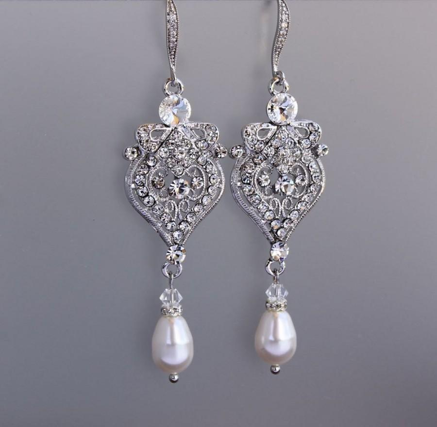 Crystal and pearl drop chandelier earrings art deco crystal crystal and pearl drop chandelier earrings art deco crystal bridal earrings wedding jewelry bridal jewelry bridesmaid earrings lucy arubaitofo Gallery