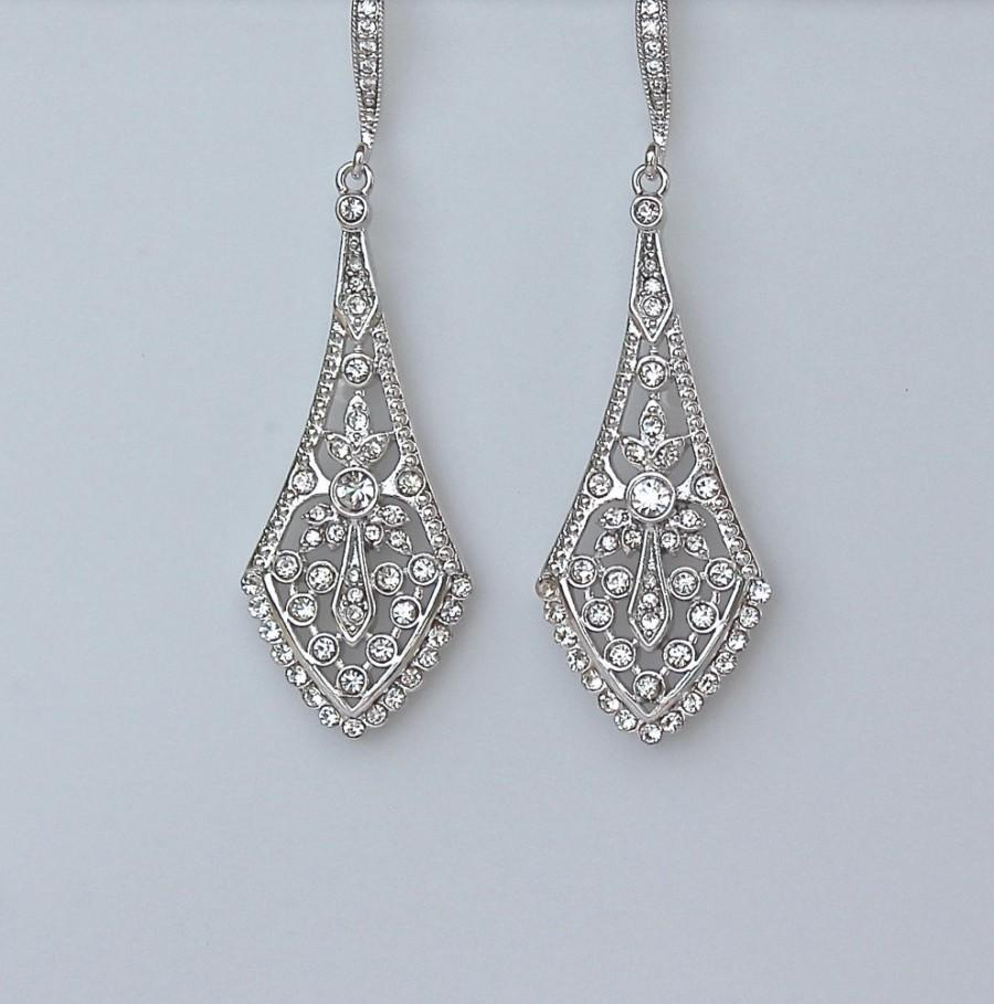 Chandelier Earrings Art Deco Style Bridal Crystal Filigree Wedding Jewelry Emily C