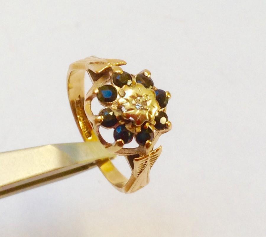 زفاف - Antique diamond & sapphire vintage ring 9ct yellow gold Hall marked.