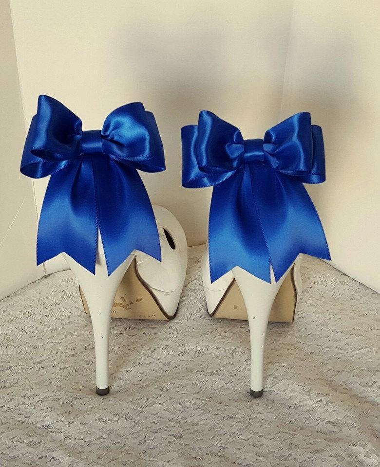 Mariage - Antique Blue Shoe Clips, Wedding Shoe Clips, Bridal Shoe Clips, Satin Bow Clips,  Shoe Clips for Wedding Shoes, Bridal Shoes, MANY COLORS