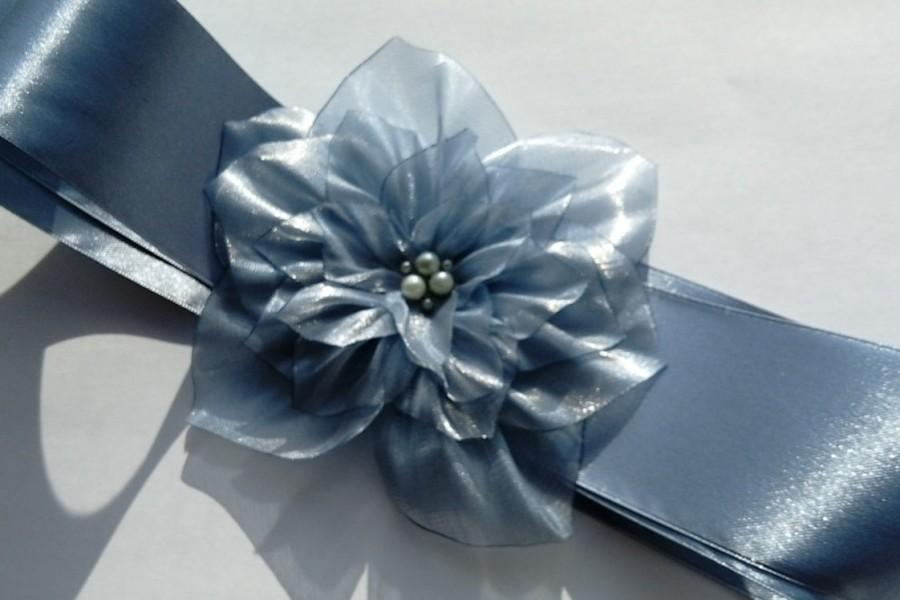 Weddings Sashes, Grey Blue Sash Belt, Maternity Sash, Flower Girl ...