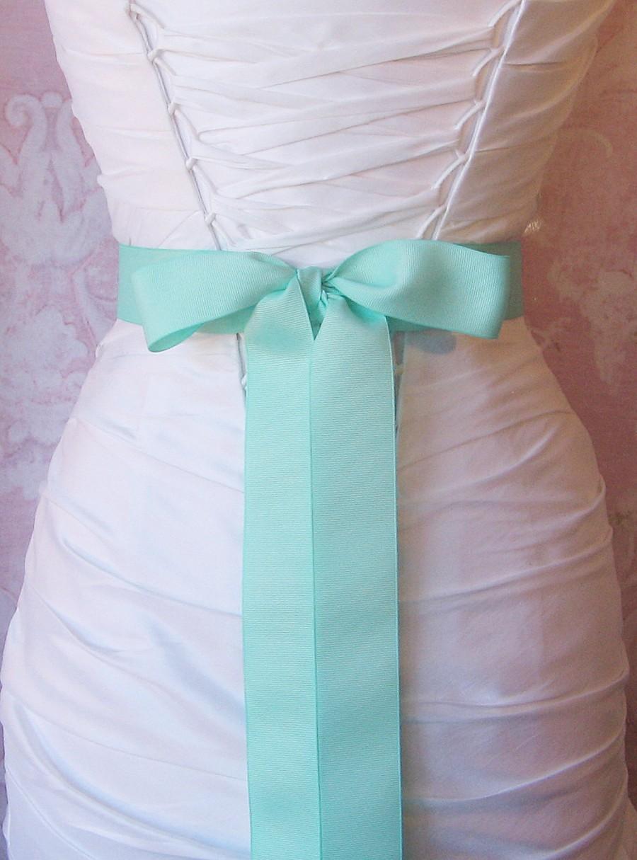 Mariage - Mint Green Grosgrain Ribbon, 1.5 Inch Wide Bright Aqua Bridal Sash, Grosgrain Wedding Belt, 4 Yards