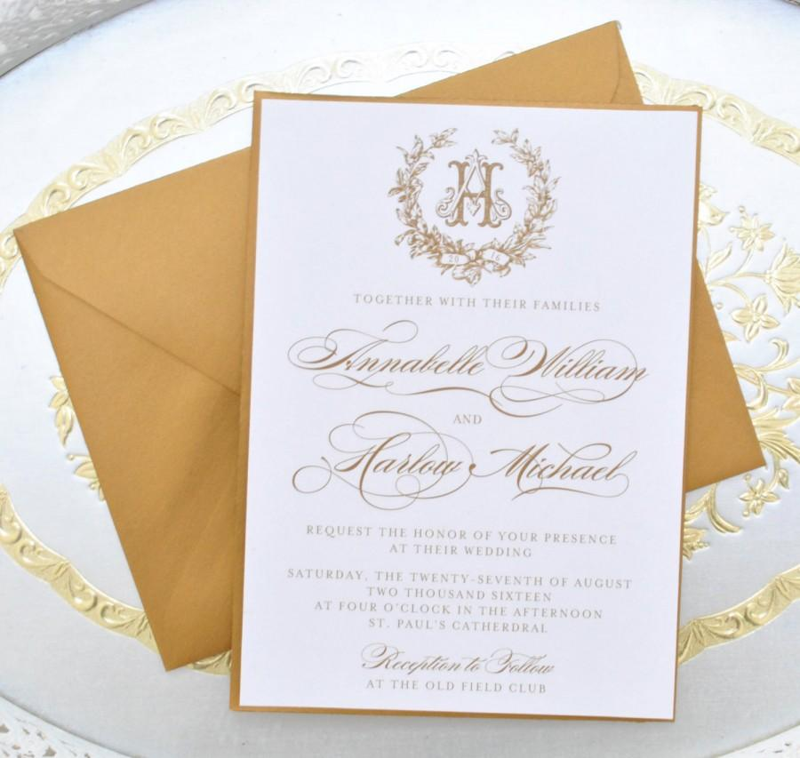 Mariage - Gold Wedding Invitation, Monogram Invitation, Elegant Wedding Invitation, Gold Invitations, Vintage Wedding Invitation Set