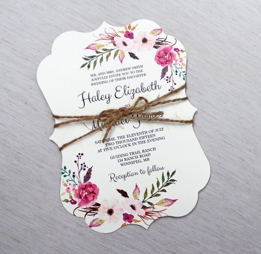 زفاف - Boho Wedding Invitation, Floral Wedding Invitation, Modern Wedding Invitation, Floral, Shabby Chic Wedding Invitation, Boho Floral Invites