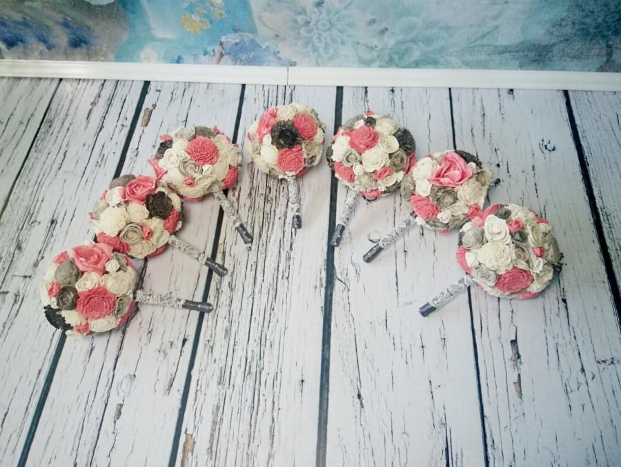 Wedding - SET OF 4/5/6/7 Small ivory grey and coral wedding BOUQUETS sola Flowers, satin Handle, Flower girl, Bridesmaids, roses vintage custom toss