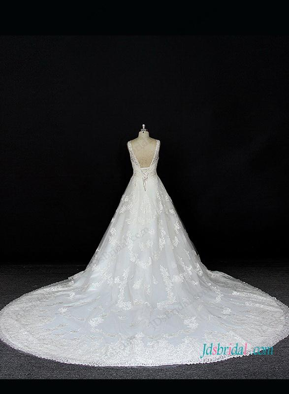 Mariage - Strappy v neck princess lace ball gown wedding dress
