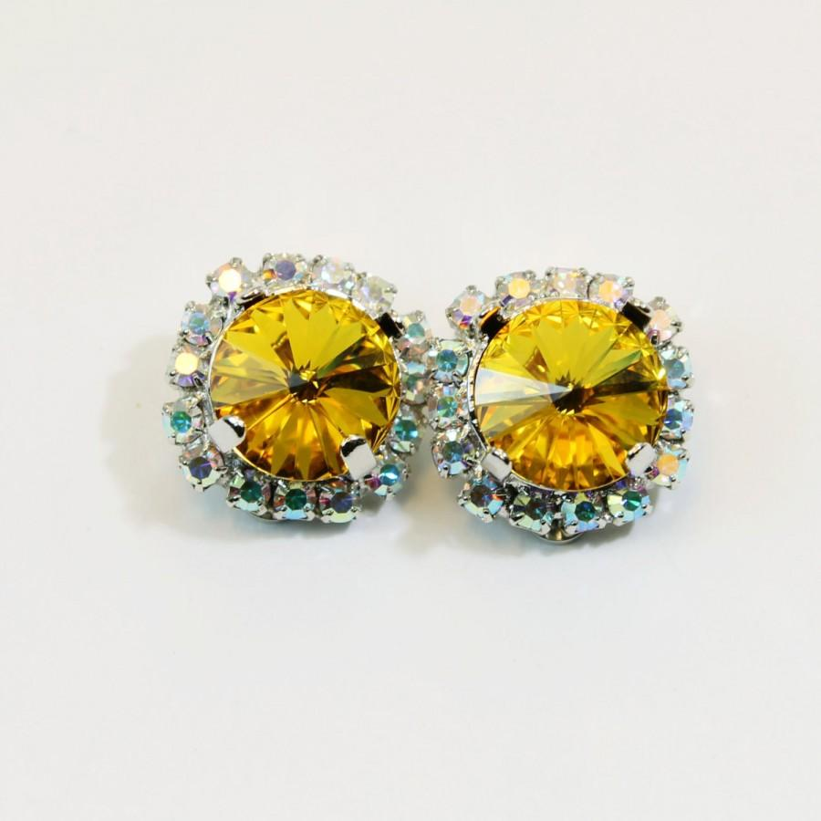 Mariage - Yellow Clip Earrings Crystal clip on Canary Yellow Rhinestones AB Halo Clip Earrings Swarovski Yellow Wedding Silver finish,Sunflower,SE97