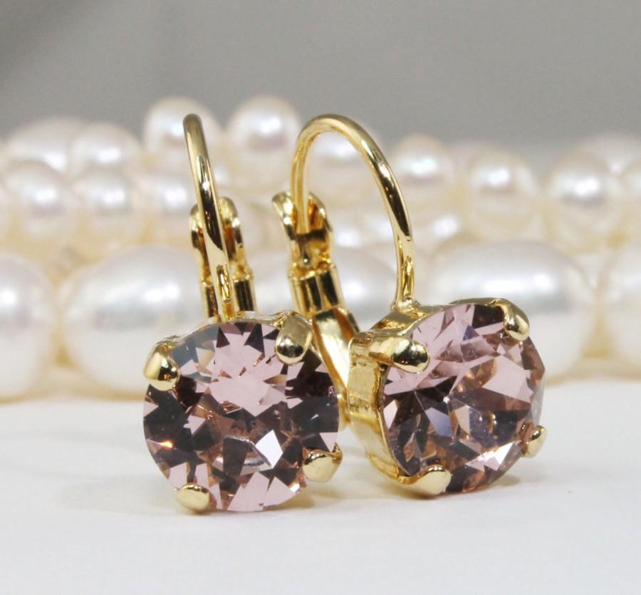 Mariage - Blush Earrings Swarovski Crystal Blush Pink Earrings Ballet Pink Gold Drop Earrings blush bridesmaids Blush Wedding ,Gold,Vintage Rose,GE2