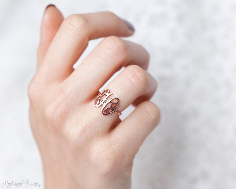 Mariage - SALE 30%* Monogram Ring - Personalized Monogram Ring - Initials Ring - Monogrammed Ring - Bridesmaid Gift - Wedding Gift -