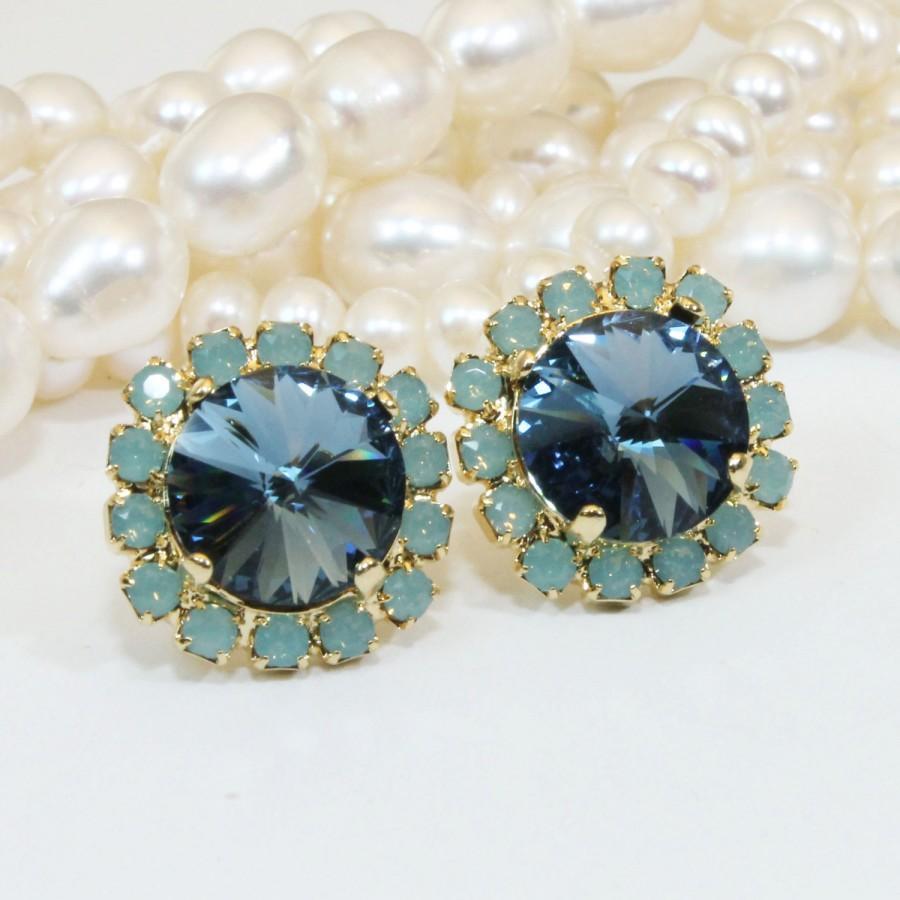 Mariage - Navy Blue Mint Stud earrings Green Opal  Crystal Gold Denim Blue Mint Wedding Post 10mm Halo Swarovski rhinestones ,Gold,Denim Blue,GE109