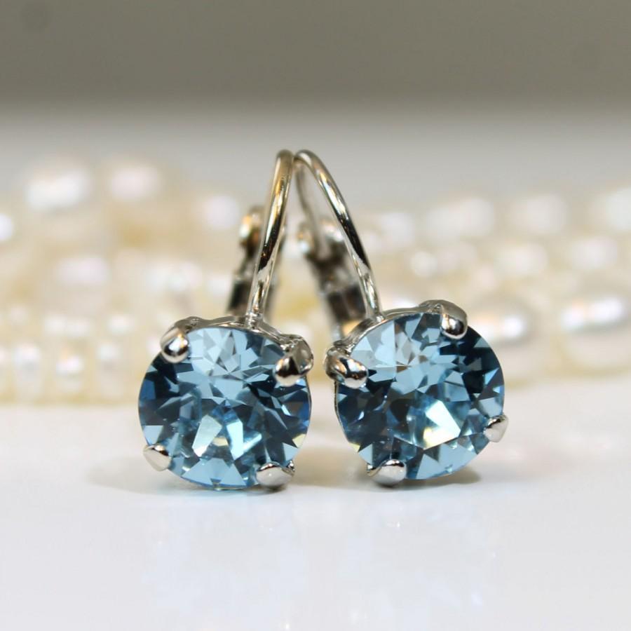 Hochzeit - Aqua Blue Swarovski Crystal Earrings Aquamarine Drop Crystal Earrings Aqua single stone earrings Rhinestones, Silver finish,Aquamarine, SE2