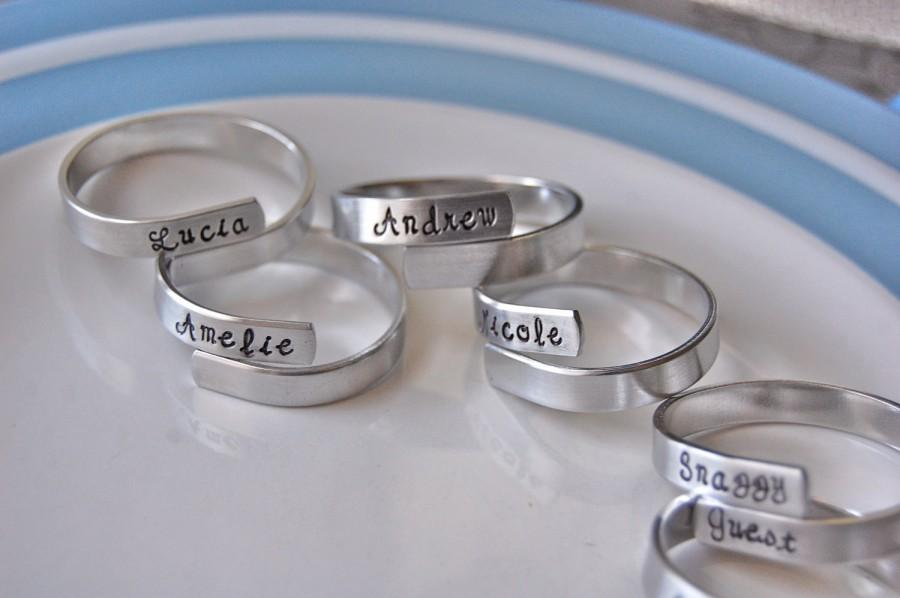 Wedding - Set of 8 family napkin rings, personalized, fun party set-- featured on HOUZZ