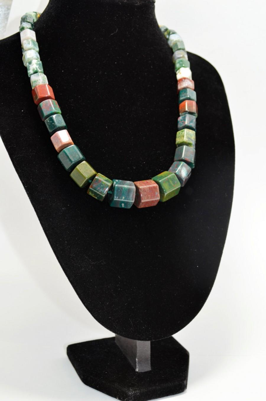 Свадьба - Multicolour Genuine Jasper Statement Big Bold Necklace, Natural Gemstone Beaded Holiday Fashion Necklace, Christmas Gift for Her