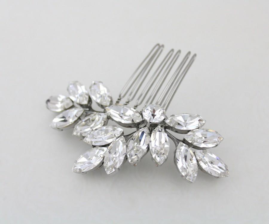 Wedding - Crystal Bridal hair comb, Leaf hair comb, Rhinestone hair comb, Wedding hair clip, Wedding hair accessories, Swarovski crystal headpiece