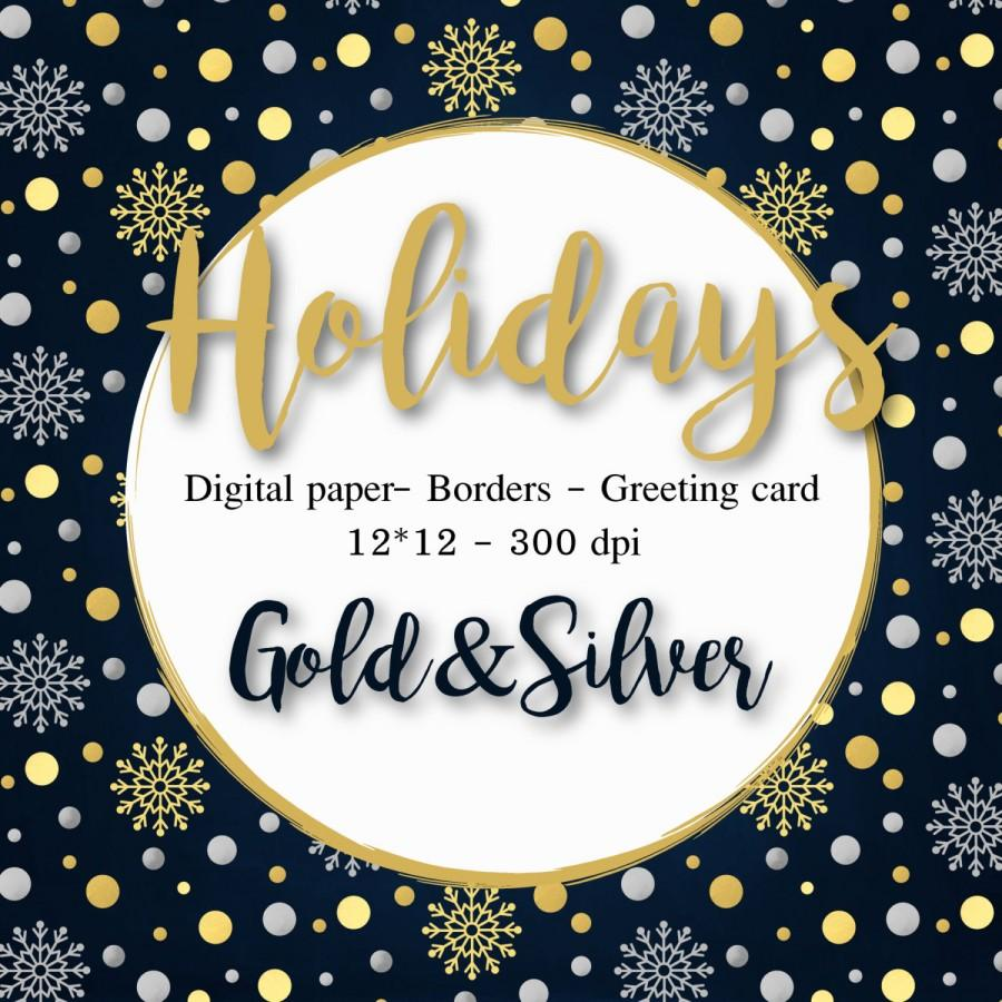 christmas clipart gold silver digital paper christmas cards borders winter clipart snowflakes xmas foil clipart gold scrapbook new year