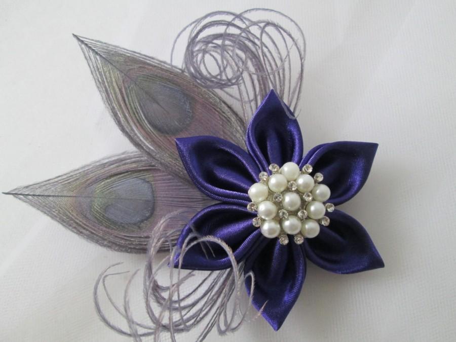 Mariage - Purple Wedding Fascinator, Royal Purple Hair Piece, Silver Peacock Head Piece, Rustic Bridal Kanzashi Hair Flower, Flower Brooch