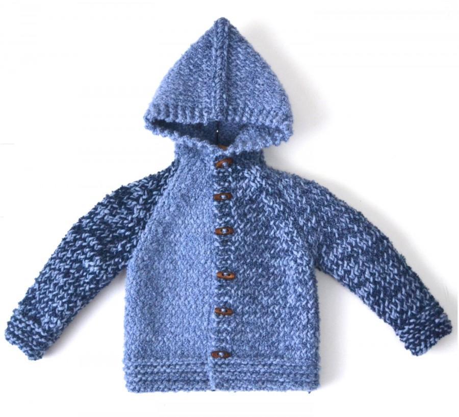 9a78b9d49ee9 Hand Knitted Baby Boy 0 Wool-Alpaca Hoodie Cardigan Jacket