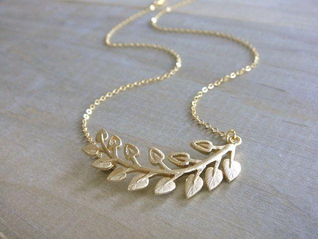 Mariage - Golden Fern Frond Necklace