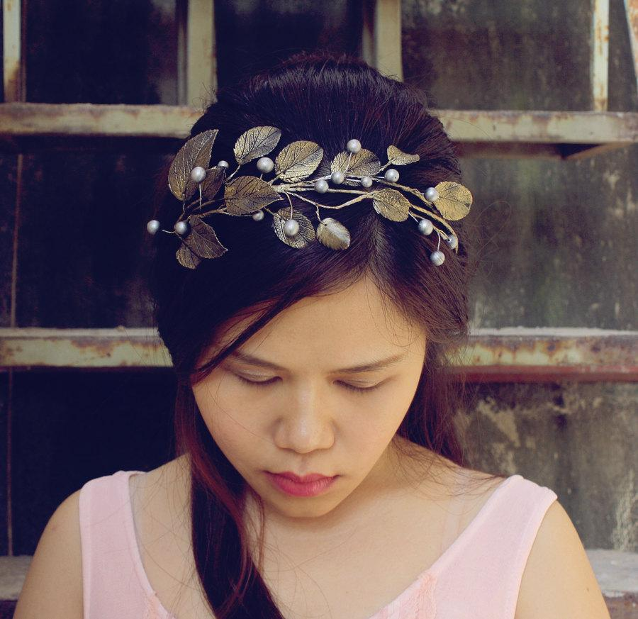 Mariage - pink silver branch headband,cherry blossom headband, made by polymner clay sweet girl