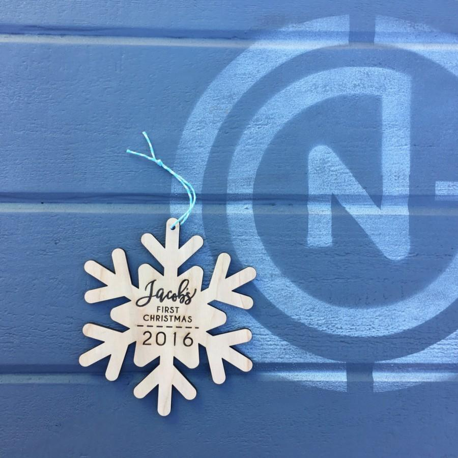 Custom first christmas ornament - Personalized Name Ornament 5 Inches Custom Snow Flake Christmas Ornament Baby First Christmas Ornament Wood Ornament Wood Snowflake