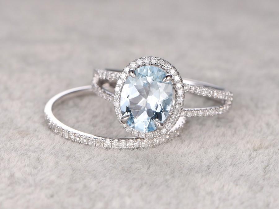 2pcs 8x10mm Oval Blue Aquamarine Wedding Ring SetEngagement Ring