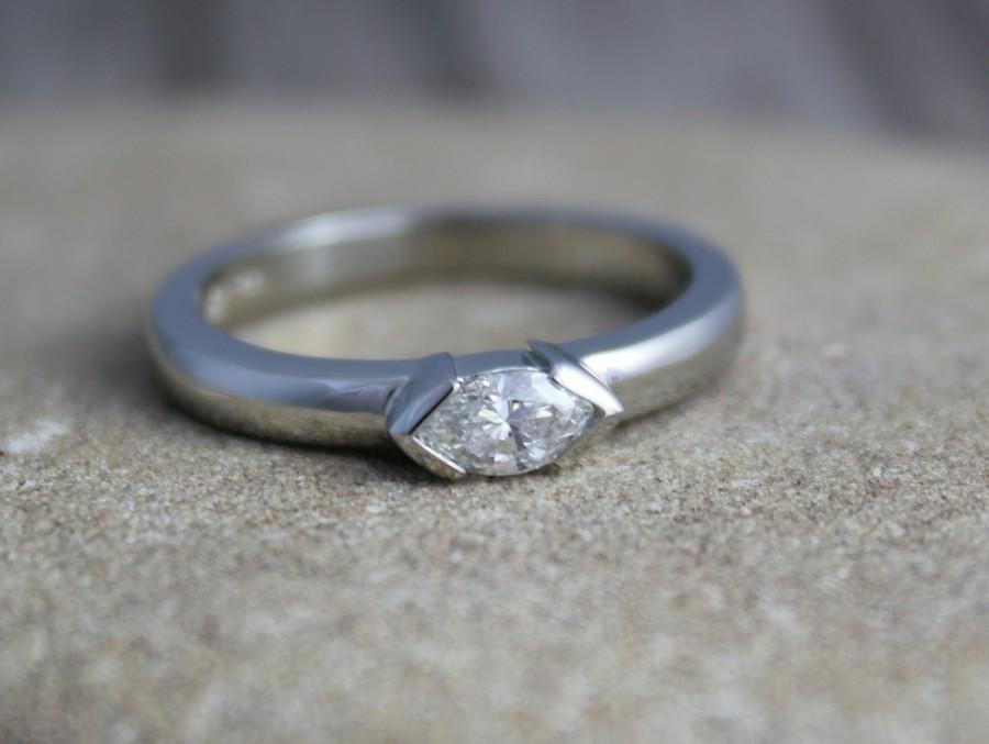 Mariage - Diamond Marquise Ring in 14k White Gold, East to West Marquise, Half Bezel, Simple Engagement Ring, Ready to Ship Gold RIng