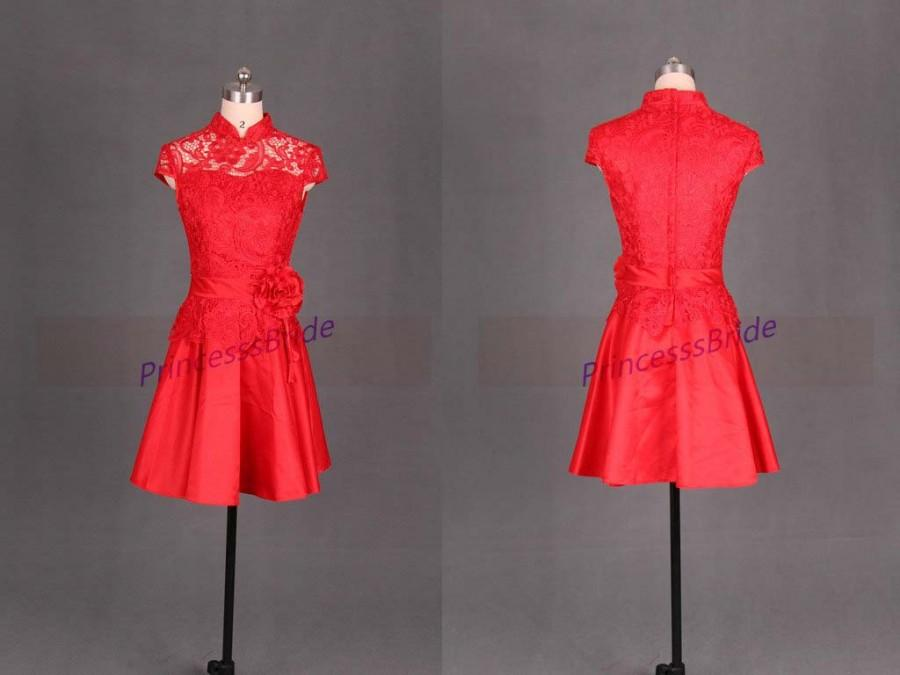 Düğün - 2016 short red lace and satin bridesmaid dresses,Chinese cheongsam bridesmaid gowns hot,cheap vintage dress for prom party.