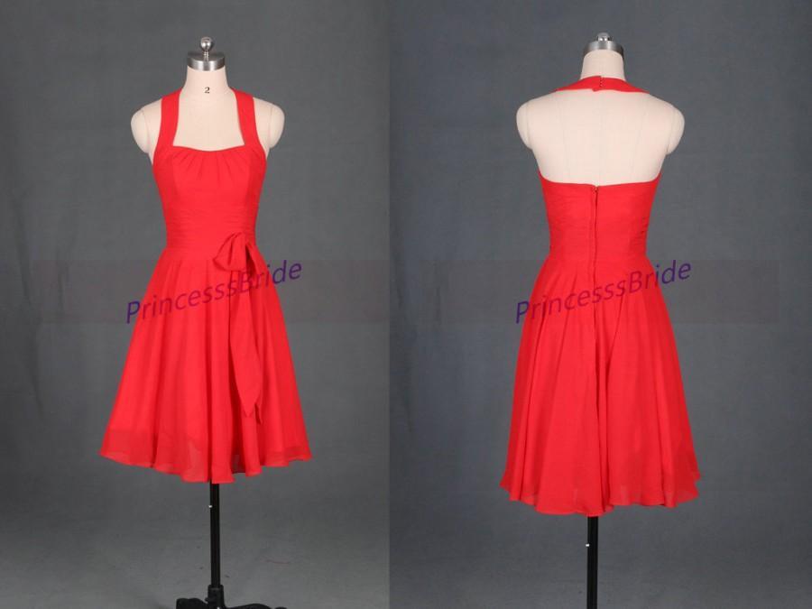 545e629cab Short Red Chiffon Bridesmaid Dresses In 2015
