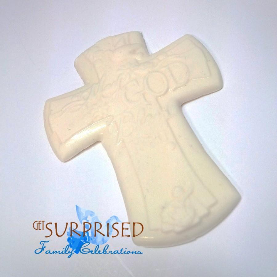 زفاف - BAPTISM CAKE TOPPER, May God bless you. White chocolate or fondant cross cake centerpiece. Favor for Christening-first communion-baby shower