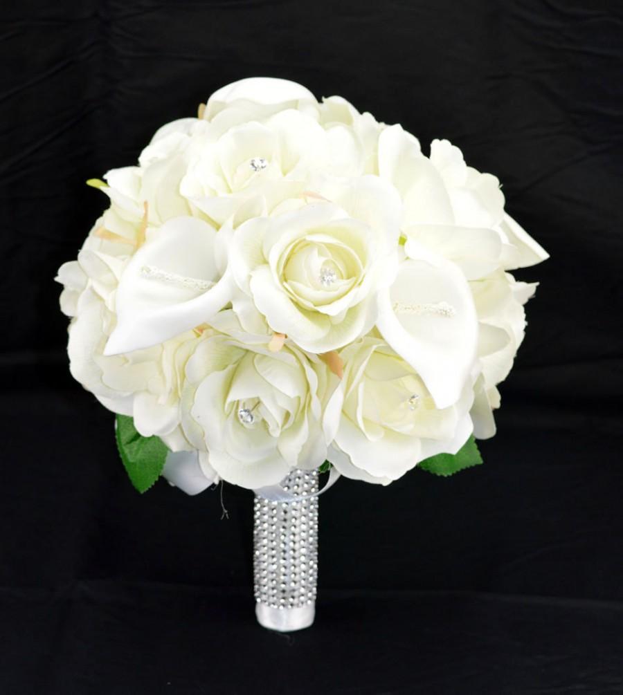 زفاف - No. 4062 Silk Wedding Bouquet with Off White Roses and Callas, Artificial Flower Bouquet,  Wedding Bouquet, Bridesmaid Bouquet.