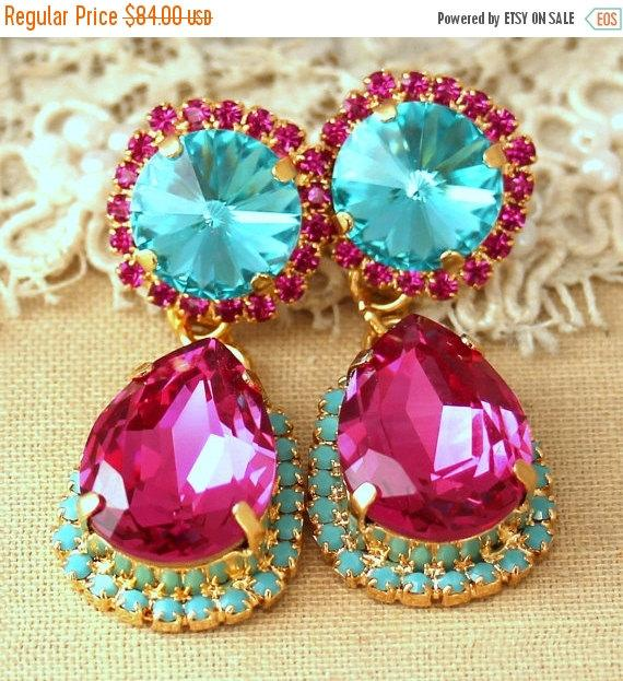 Fuchsia turquoise chandelier earrings statement earrings turquoise fuchsia turquoise chandelier earrings statement earrings turquoise chandelier earrings swarovski crystal pink fuchsia earrings aloadofball Choice Image