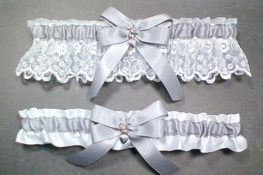 Свадьба - Wedding Garter Set Silver Gray on White or Ivory, Bow with Rhinestone and Hearts Charm ~ Allison Line (May also be purchased individually)