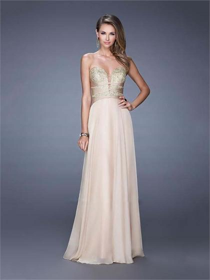 Mariage - A-line Sweetheart Sheer inset Embroidered Bodice Chiffon Prom Dress PD3156