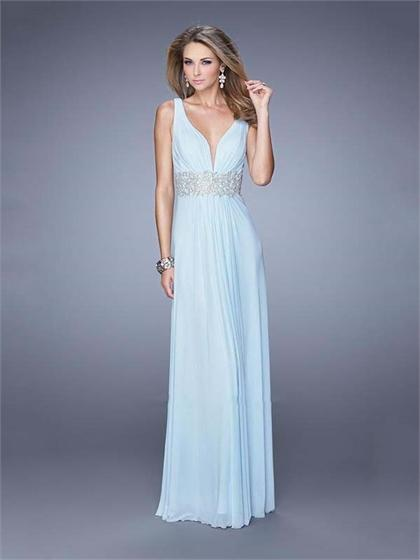 Hochzeit - Deep V-neck Ruched Bodice Embroidered Belt Open Back Chiffon Prom Dress PD3142
