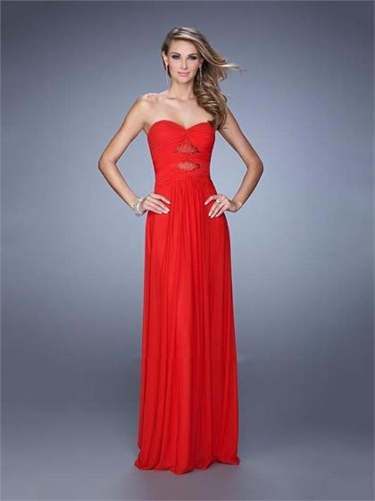 Hochzeit - Elegant Strapless Gathered Bodice Floor Length Chiffon Prom Dress PD3141