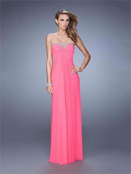 Hochzeit - Graceful Strapless Sweetheart Gathered Bodice Chiffon Prom Dress PD3140