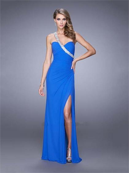 Hochzeit - One Shoulder Gathered Bodice Left Leg Slit Chiffon Prom Dress PD3139
