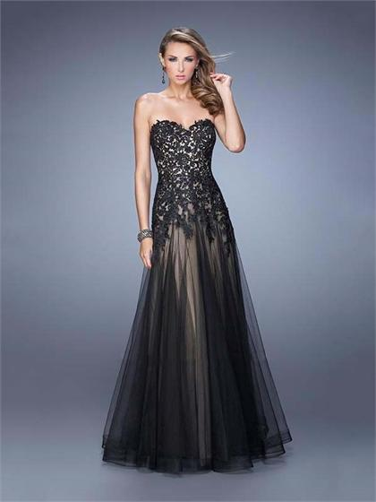 Mariage - A-line Strapless Sweetheart Lace bodice Tulle Prom Dress PD3146