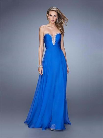 Mariage - A-line Strapless Plunging Sweetheart Gathered Bodice Chiffon Prom Dress PD3143